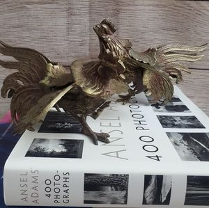 Vintage Accents - Vintage Set of 2 Brass Roosters